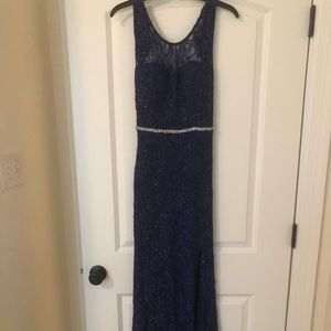 Jodi Kristopher Navy Blue Formal Gown